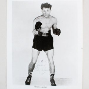Rocky Graziano Signed 8x10 Boxing Photo - COA JSA