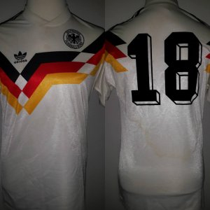 A Jürgen Klinsmann Game-Used & Unwashed #18 West Germany National Team Home Shirt 1990