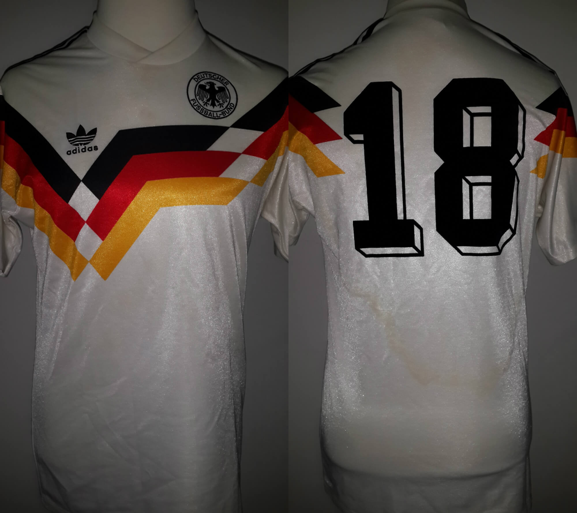 A Jürgen Klinsmann Game-Used & Unwashed #18 West Germany National Team Home Shirt 1990