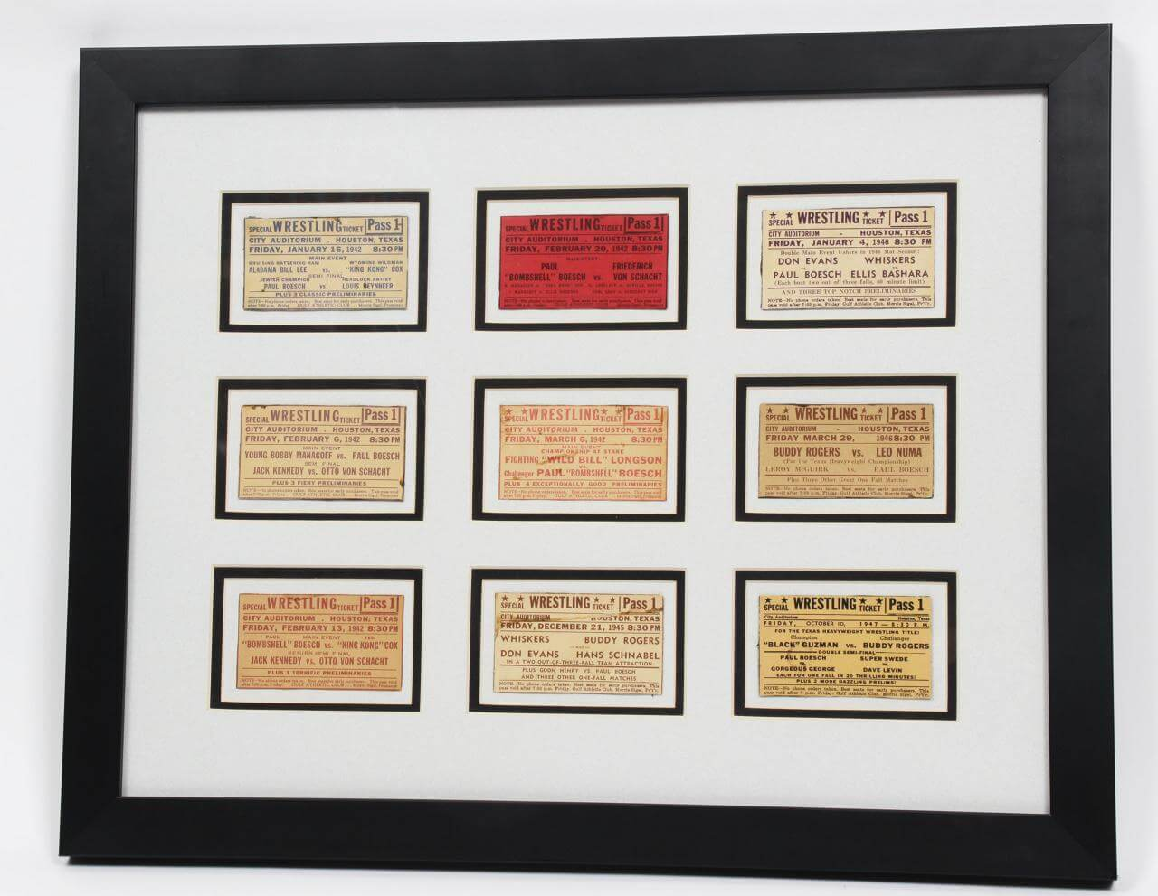 Nine Vintage 1940's Wrestling Tickets from the Nick Bockwinkle Collection