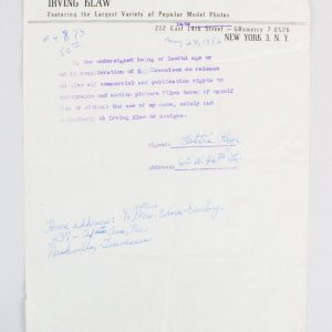 1952 Bettie Page Signed Contract for Irving Klaw Photo Releases - JSA Full LOA