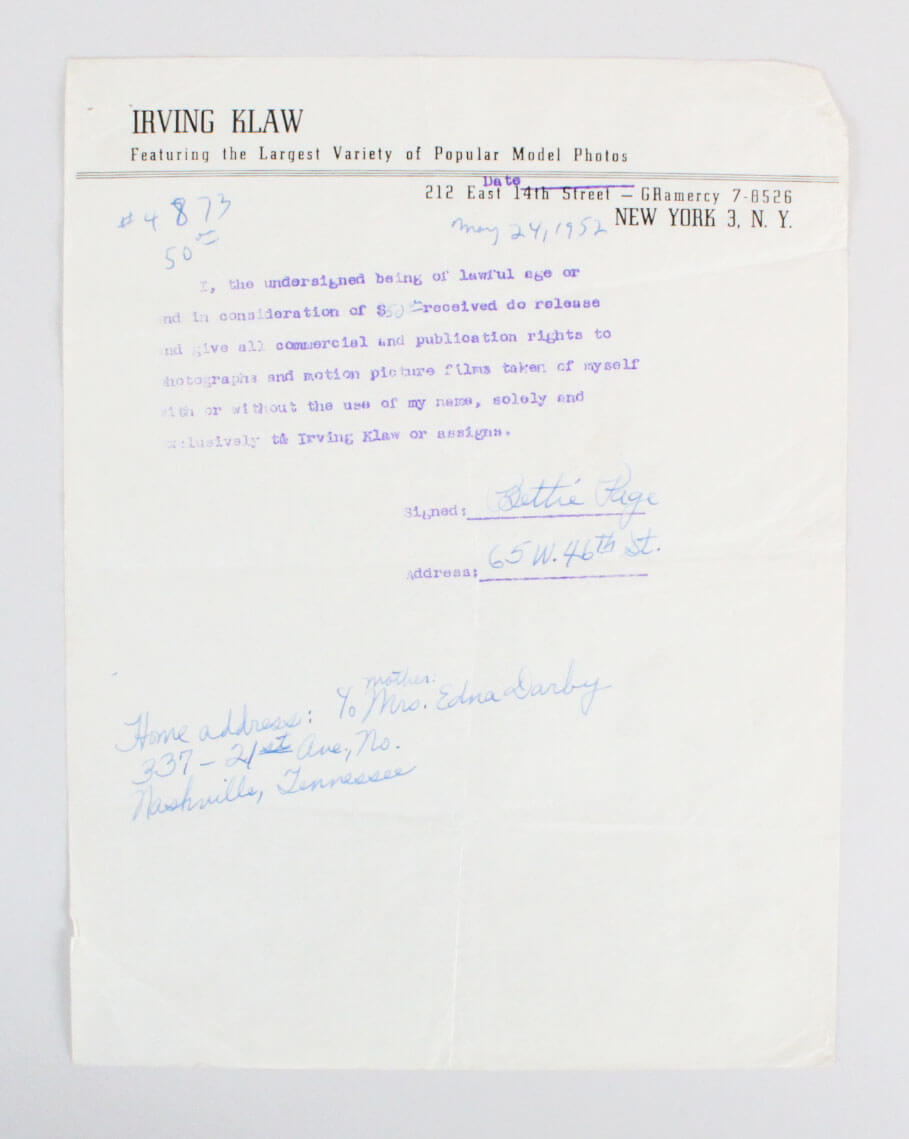 1952 Bettie Page Signed Contract  Photo - JSA Full LOA