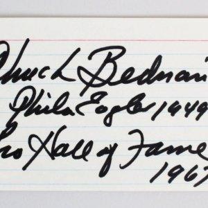Chuck Bednarik Signed 3x5 Index Card w/Career Inscription - COA JSA