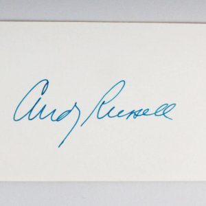 Andy Russell Signed 3x5 Index Card - COA JSA