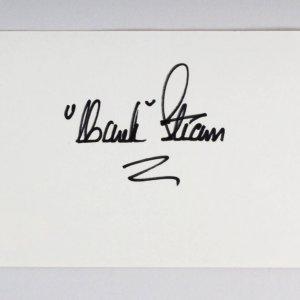 Hank Stram Signed 3x5 Index Card - COA JSA