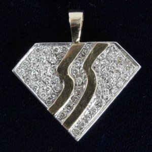 "Bon Jovi  Bling""Slippery When Wet"" 14 Karat Yellow Gold Diamond Pendant"