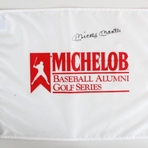 Mickey Mantle Signed Michelob Baseball Alumni Golf Series Pin Flag (Rare)