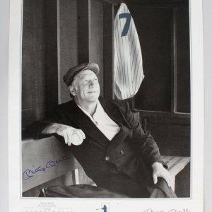 Mickey Mantle Signed 16x20 B&W Ruth Portrait Conlan Style - JSA