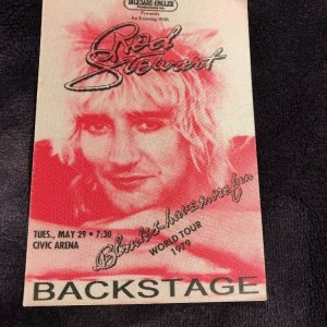 ROD STEWART 1979 World Tour Backstage Pass Original Civic Arena Pittsburgh