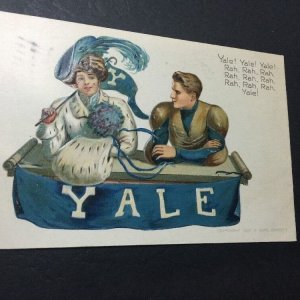 YALE Girl & Football Player Postcard 1907 F. Earl Christy