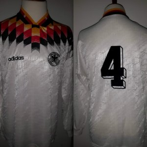 A Jürgen Kohler Game-Used #4 Germany National Team Home Shirt 1994