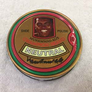 Muhammad Ali Signed 1970's Champion The Greatest Shoe Polish Full JSA