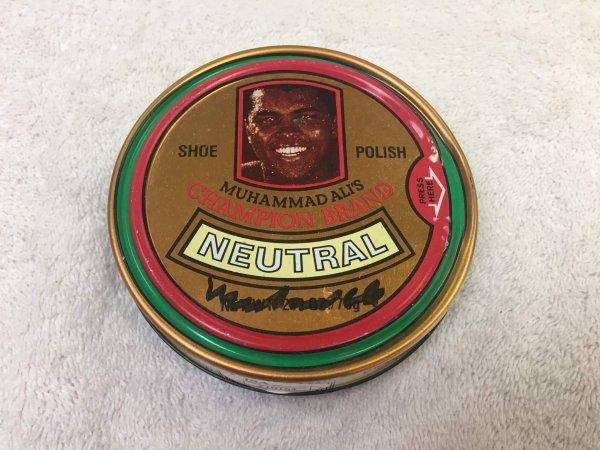 Muhammad Ali Signed 1970's Champion The Greatest Shoe Polish Full JSA