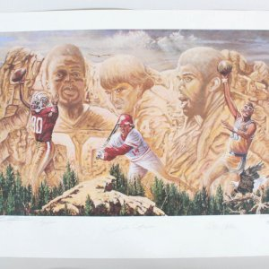 Kareem Abdul-Jabbar, Jerry Rice & Pete Rose Signed All-Time Leaders Litho - COA JSA