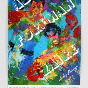 LeRoy Neiman Signed Muhammad Ali vs. George Foreman Print - JSA