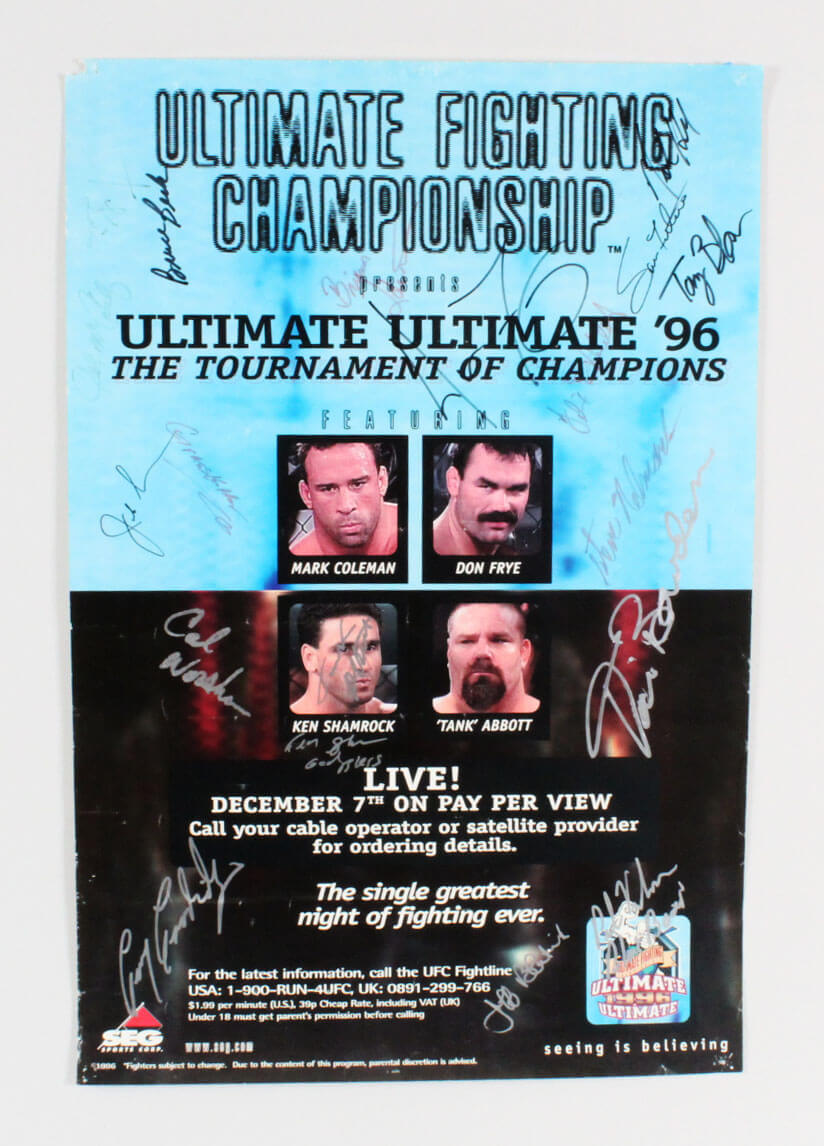 Ultimate Ultimate 1996 Multi-Signed Poster (19) SEG – Don Frye, Tank Abbott, etc – JSA Full LOA