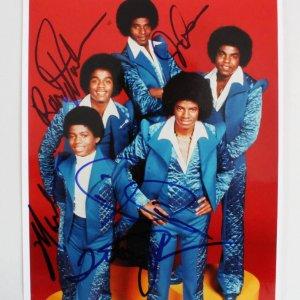 The Jackson 5 Signed 8x10 Photo - Marlon, Jermaine, Tito, Randy & Jackie COA JSA