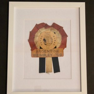 An Original Argentina 1966 FIFA World Cup Rosette.  Framed Presentation.