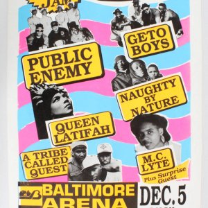Public Enemy & Queen Latifah 22 x 33 1991 Holiday Jam Concert Poster