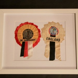 A Pair of Original 1966 FIFA World Cup Final Rosettes.  England / West Germany.