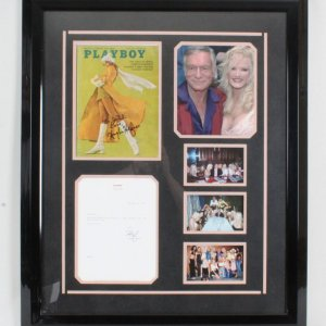 Hugh Hefner Signed Playboy Magazine & Party Invite Display -JSA