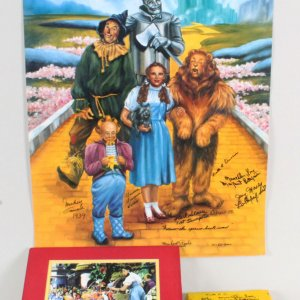 Wizard of Oz Signed Munchkins Lot - Photo, Poster & Yellow Brick - JSA