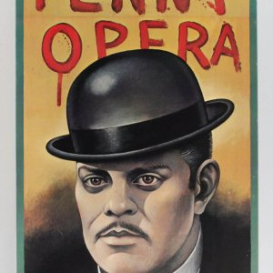"Three Penny Opera Broadway Theater Poster feat. Raul Julia w/Paul Davis Artwork 41.5"" x 83.75"""