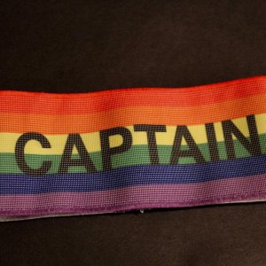 A Wayne Rooney Game-Used Rainbow Captain's Armband.  2016/17 English Premier League (Rooney's Final Season @ Old Trafford)