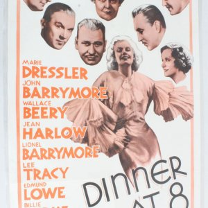 1962 Dinner At 8 Movie Poster One Sheet Re-Release R62/205
