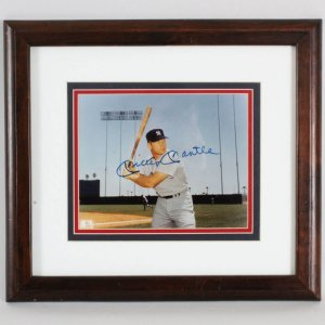 Mickey Mantle Signed 8x10 Photo Display New York Yankees - JSA
