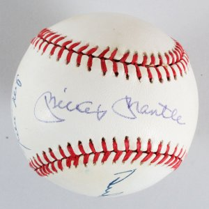 Mantle, Snider & Mays Signed Baseball - ONL (Giamatti) JSA