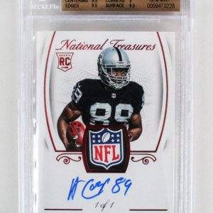 2015 National Treasures Amari Cooper Signed Graded 1/1 RC Card NFL Shield - BGS 9.5/10