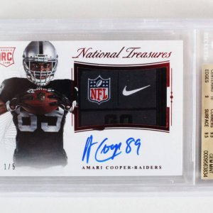 2015 National Treasures Amari Cooper Signed Graded RC Card 1/5 Laundry Tag - BGS 9.5/10