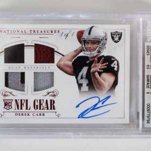 2014 National Treasures Derek Carr Signed Graded RC Card 1/1 NFL Gear - BGS 9