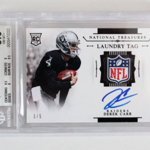 2014 National Treasures Derek Carr Signed Graded RC Card 3/5 Laundry Tag - BGS 8.5/10