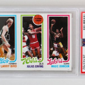 1980 Topps Larry Bird, Magic Johnson & Erving Rookie Card PSA 6