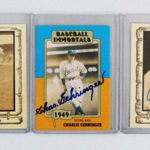 Baseball Signed Card Lot (3) - Charlie Gehringer, etc. - JSA