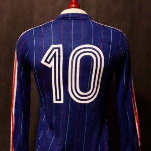 A Michel Platini Game-Used #10 France International Home Shirt.  1982 FIFA World Cup Qualifiers.