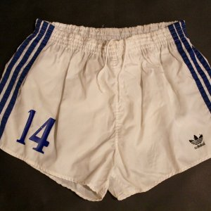 A Pair of Johan Cruyff Game-Used #14 Los Angeles Aztecs Shorts.  1979 NASL Season.