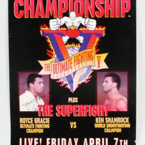 Royce Gracie Signed Poster UFC 5 SEG - COA JSA