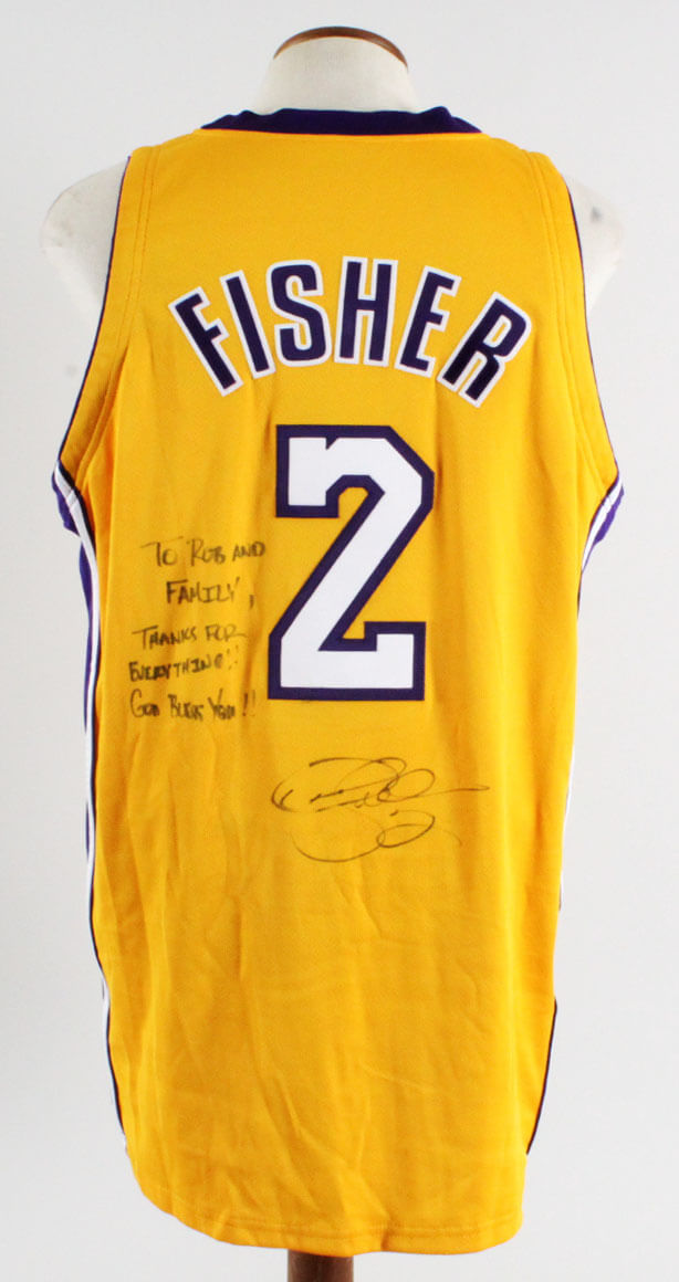Derek Fisher Signed Game Jersey  a828bd173