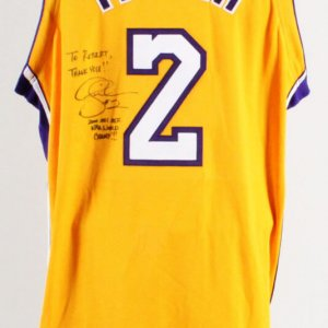 Derek Fisher Signed Game Jersey Los Angeles Lakers