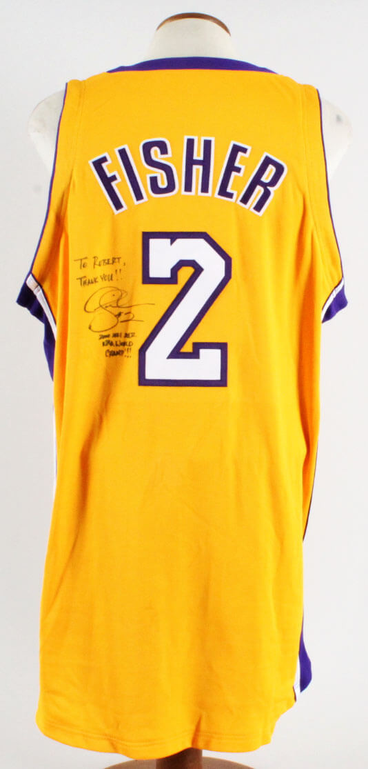 8d37465387c Derek Fisher Signed Game Jersey Los Angeles Lakers