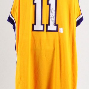 Karl Malone Signed Game Los Angeles Lakers Jersey