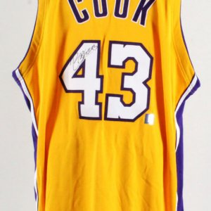 Brian Cook Signed Game Los Angeles Lakers Jersey & Hat