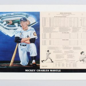 Mickey Mantle Signed Poster - COA JSA