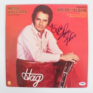Merle Haggard Signed Record Album - COA PSA/DNA