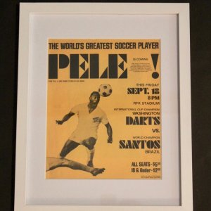 An Original Pele Match Flyer Advertising Santos FC v Washington Darts.  1970.