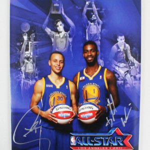 Stephen Curry & Dorell Wright Signed Photo