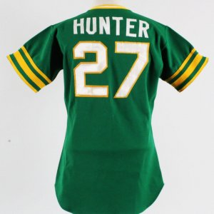 1974 Jim Catfish Hunter Game-Worn Jersey COA Gray Flannel